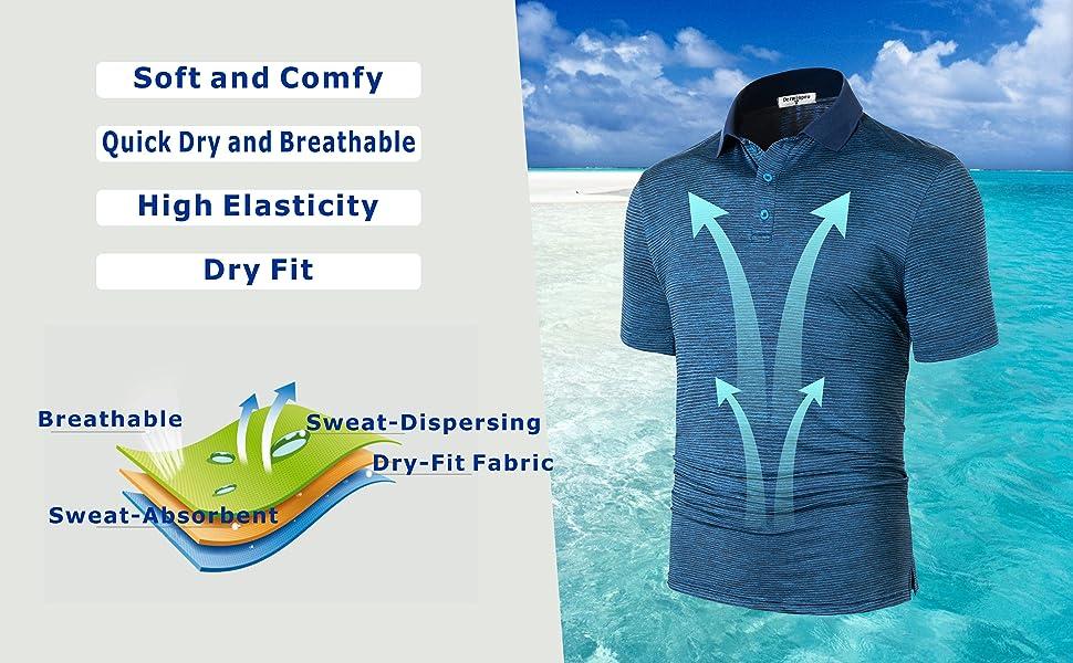 Derminpro Mens long Sleeve Golf Shirts Quick Dry Polo T-Shirts
