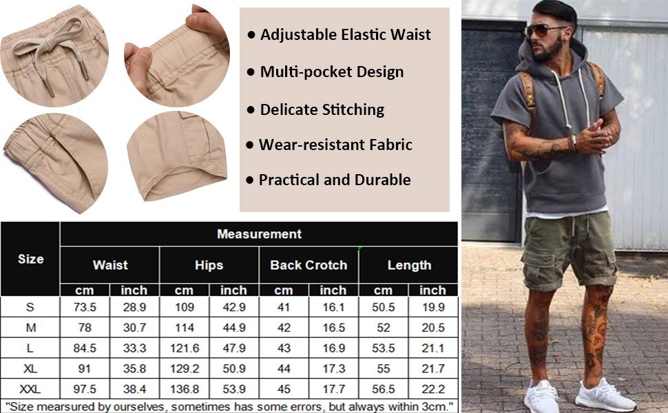 mens casual cargo shorts