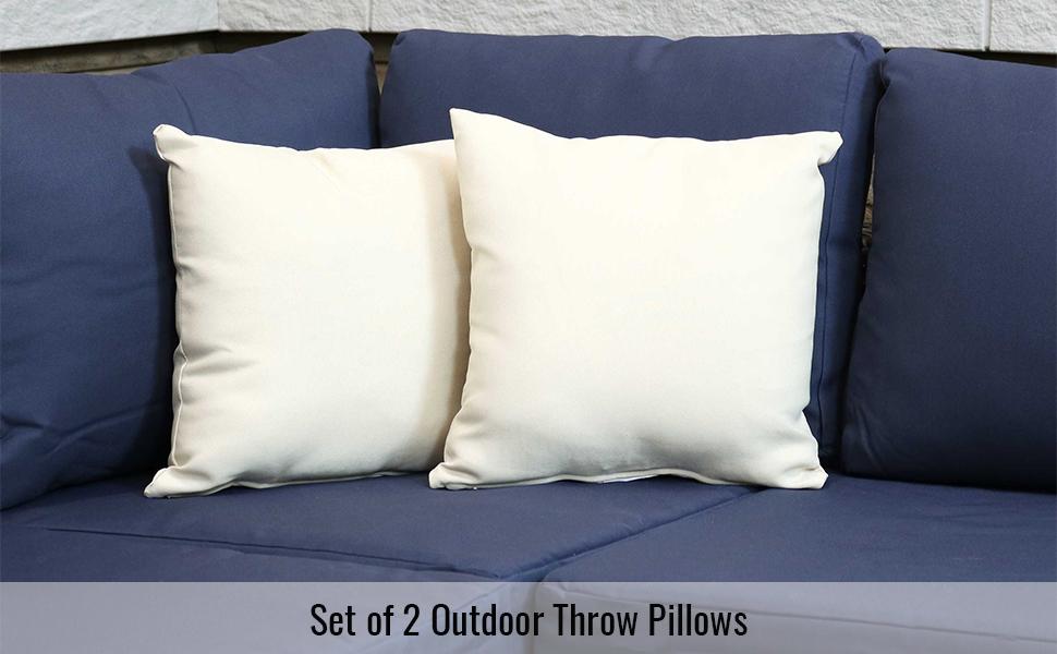 Set of 2 Outdoor Throw Pillows - Beige