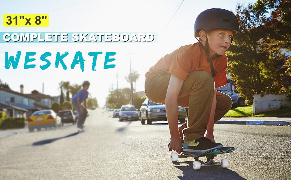WeSkate Planche /à roulettes pour Les d/ébutants 31 x 8/'/' Compl/ète Skateboard 7 Plis Double Kick Concave Planche de Skate Anti-D/érapant Roues PU pour Les Enfants Jeunes et Adultes