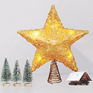 5311 Set of Ten 10 Pewter Christmas Tree Charms with Star Decorations