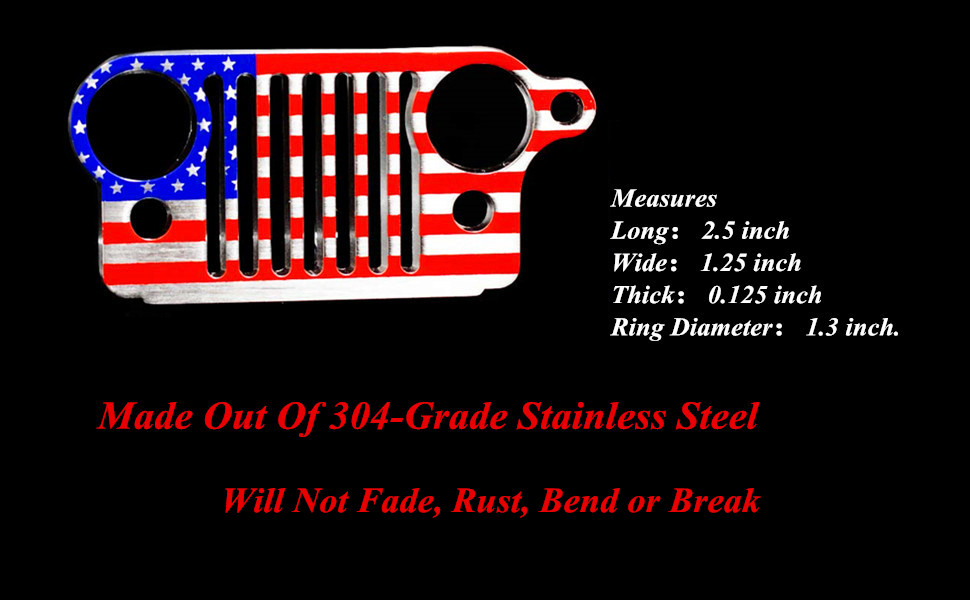 Cococart Jeep Grill Key Chain Keychain Keyring CJ JK TJ YJ XJ--304 Stainless Steel American flag