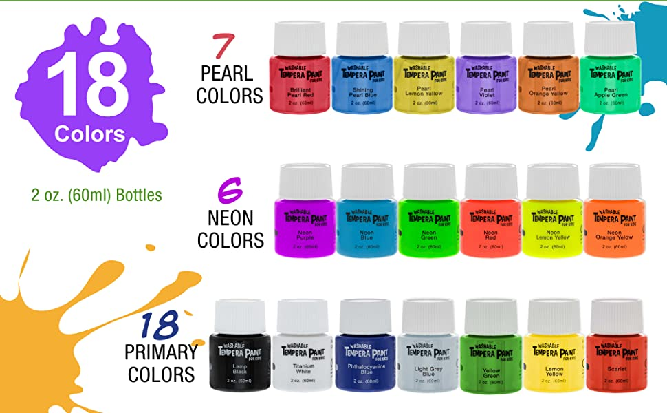 Tempera Paint set for kids washable