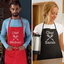 Personalised Premium Handmade Apron Chef Kitchen Plain Colours Cooking BBQ Cater