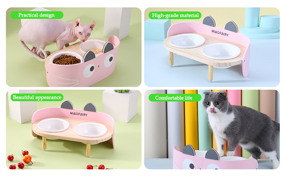 Raised Cat Dog Bowls with Stand Feeder, Elevated Wood Stand with 2 Ceramics Bowl,  DOG Cat Food Bowl