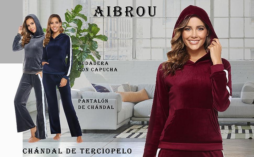 Aibrou Chándal de Mujer Sudadera con Capucha y pantalón de chándal ...