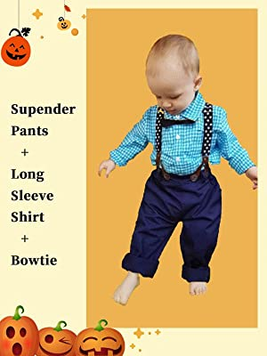 Baby Boys Gentleman Outfits Suits, Infant Short Sleeve Shirt+Bib Pants+Bow Tie Overalls Clothes Set