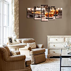 cigar and wine glasses wall art