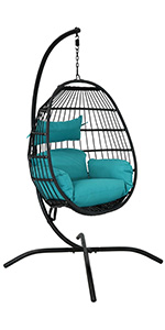 Dalia Hanging Egg Chair with Seat Cushions and Stand