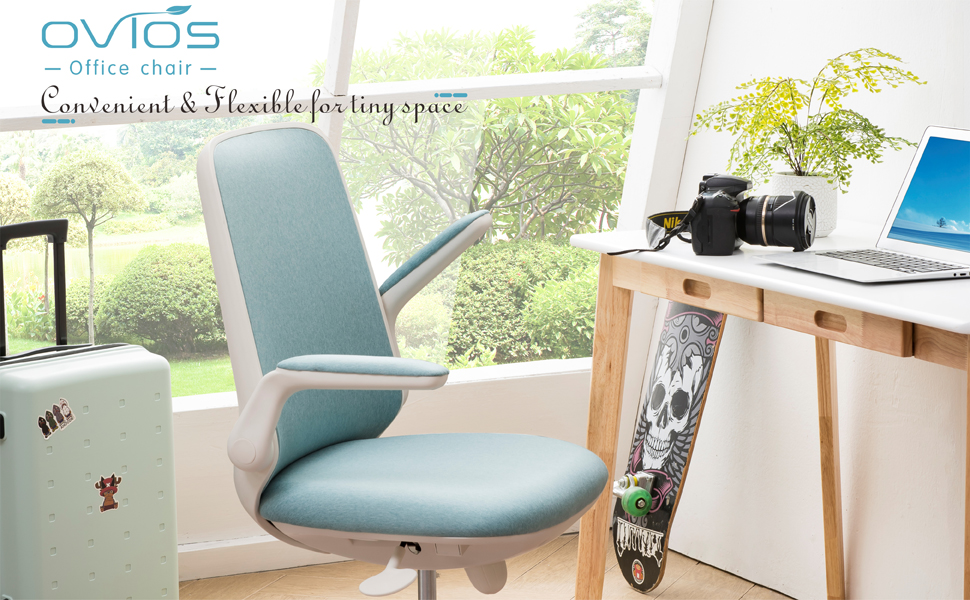 Ovios Office Chair Water Resistant Fabric Desk Chair For Dresser And Home Office Modern Comfortble Nice Tash Chair For Computer Desk White Blue Kitchen Dining