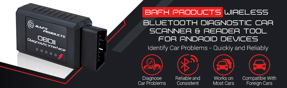BAFX Products Bluetooth OBDII (OBD2) Reader / Scanner for Android or Windows - Product on its own