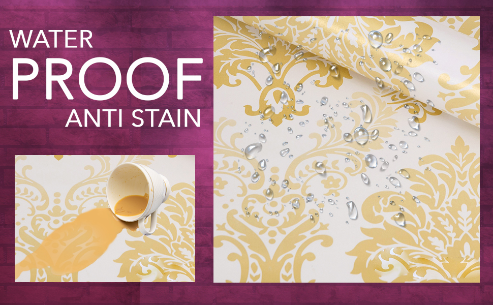 floral damask gold wall stickers wallpapers latest living room, bedroom are DIY waterproof, decals
