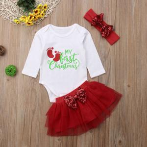 Yoawdats Newborn Baby Girl 3 Pcs Outfits My First Christmas Romper Tutu Red Skirt Headband