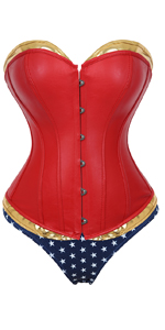 Faux Leather Overbust Corset Bustier PU Boned Gothic