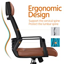 8  YAHEETECH Ergonomic Mesh Office Chair with Leather Seat, High Back Task Chair with Headrest, Rolling Caster for Meeting Room, Home Brown f1b52c41 5aeb 4cdd b231 82926ad76141