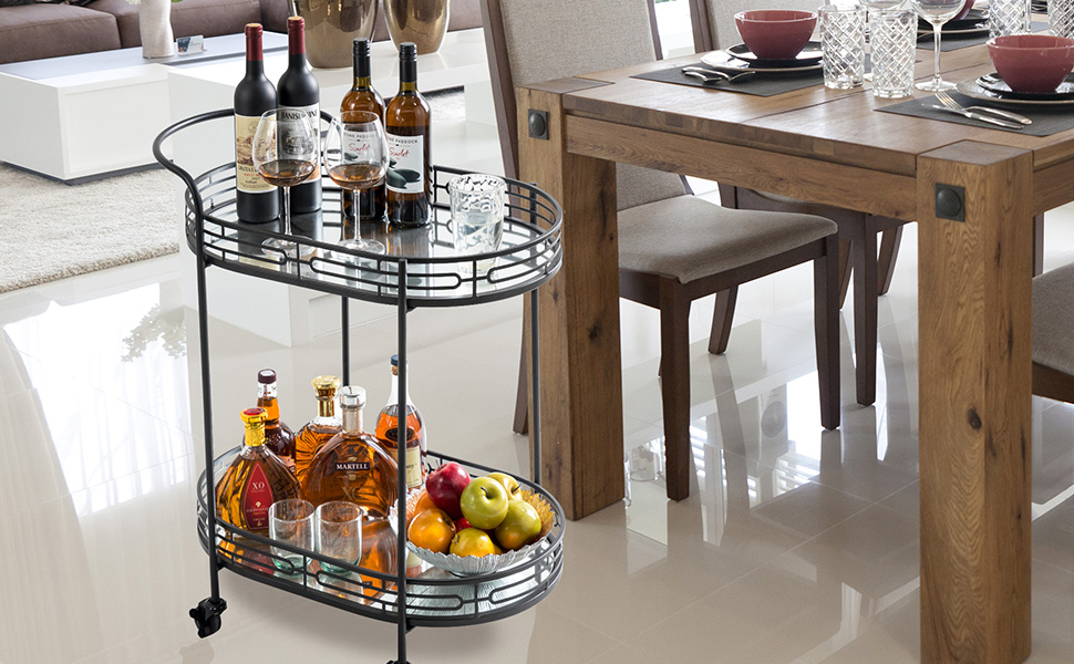 Oval Black Bar Carts on Wheels 2-Tier Deluxe Metal Mirrored Glass Top Serving Cart