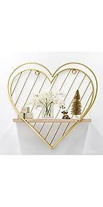 gold heart wall shelf