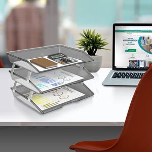 acrimet facility letter tray 3 tier side load smoke color