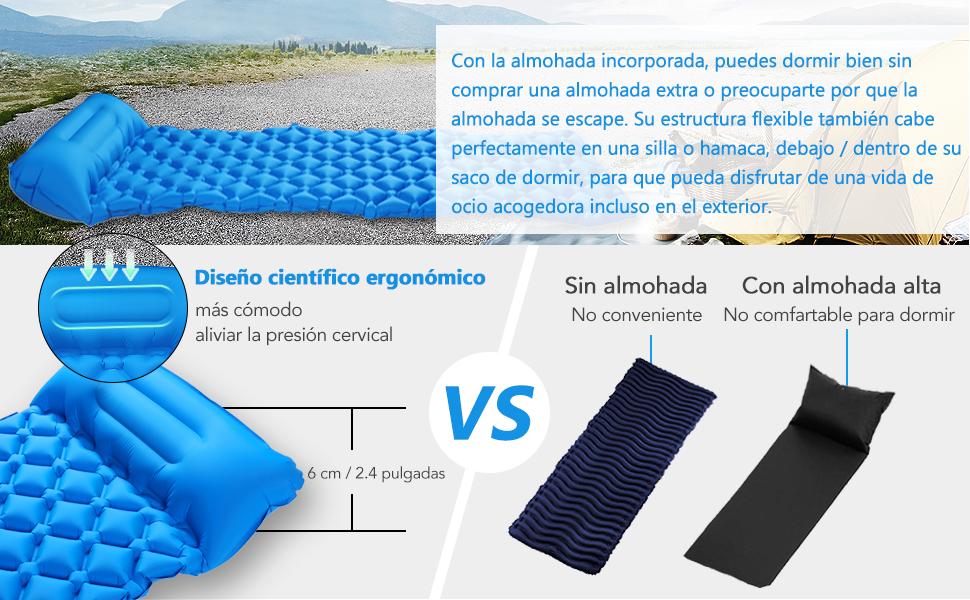 Lixada Esterilla Inflable Camping para Dormir A Prueba de Humedad con Almohada para Senderismo Acampada Playa Viaje