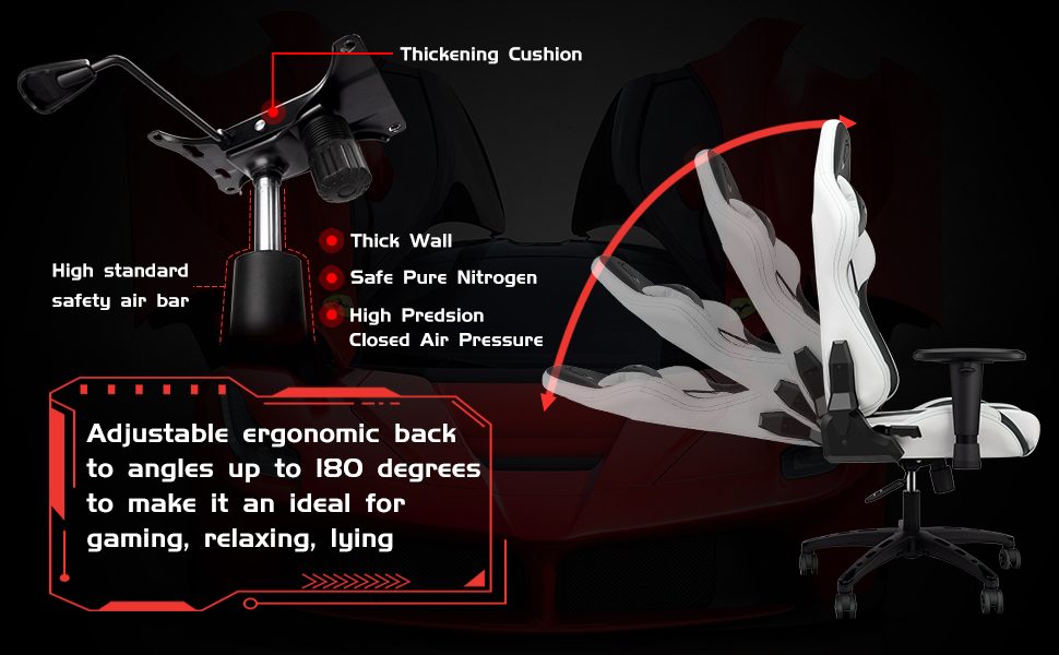 gaming chair  【New Update】 Furgle Gaming Chair Racing Style High-Back Office Chair w/PU Leather and Adjustable Armrests Executive Ergonomic Swivel Video Game Chairs with Rocking Mode & Headrest and Lumbar Support f1bf73a9 79e7 40b9 8494 fad4c1edd5af