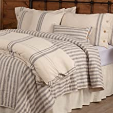 ticking strip quilt and pillows