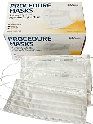 WMS Wisconsin Medical Supplies Procedure Masks Box Above 3 Made in USA Surgical Masks