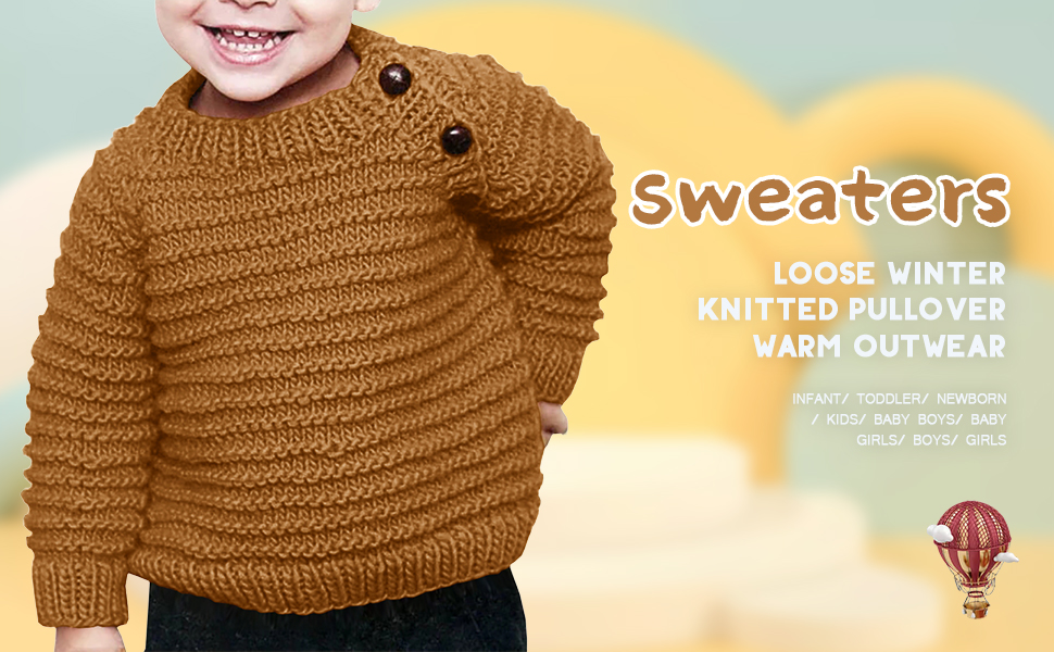 Makkrom Baby Boys Girls O-Neck Toddler Sweaters Loose Winter Knitted Pullover Warm Outwear