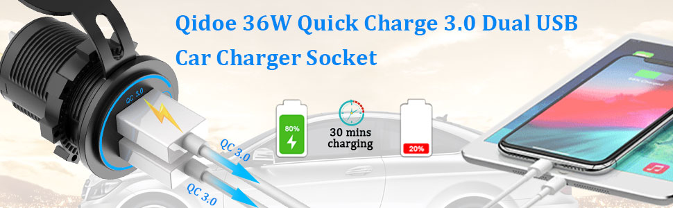 Quick Charge 3.0 Dual USB Charger Socket