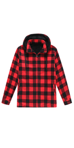 Men's Sherpa Lined Fleece Flannel Shirt Jac with Removable Hood