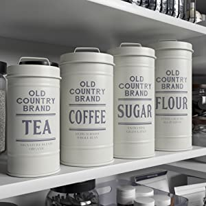 lifestyle photo for Kitchen Canisters with Lids Galvanized White