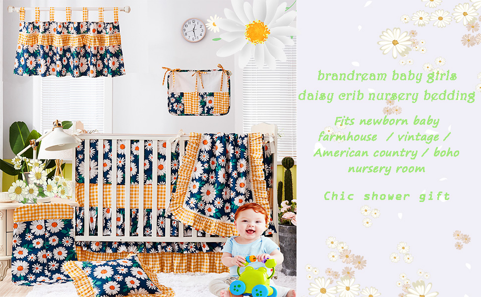 baby girls vintage crib bedding set for girls daisy nursery bedding
