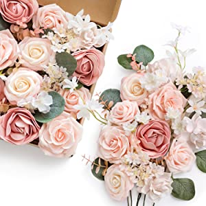 Shimmer BLUSH Pink 25pk Artificial Flowers VERY Real Looking Fake Roses with Stem DIY Wedding Bouquet Bridal Shower Centerpieces Home Decor