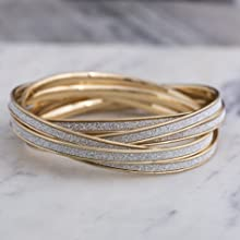 rolling bangle set gold glitter stacking layered millennial bracelets jewelry fashion  steve madden