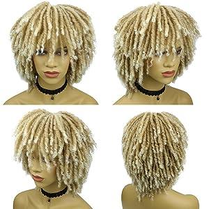 Blonde Dreadlock Wigs for Women Afro Curly Blonde soul dreadloc wigs