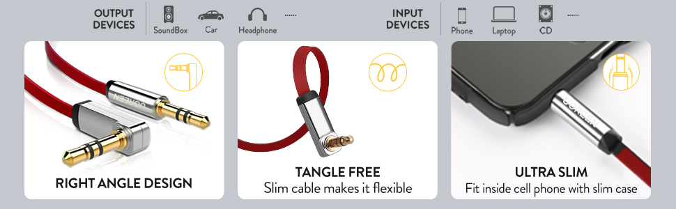 UGREEN 3.5mm Auxiliary Audio Jack to Jack Cable 90 Degree Right Angle