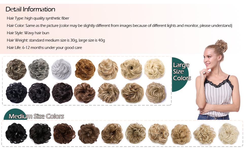 large size hair bun has 14 colors, medium size has 10 colors to choose