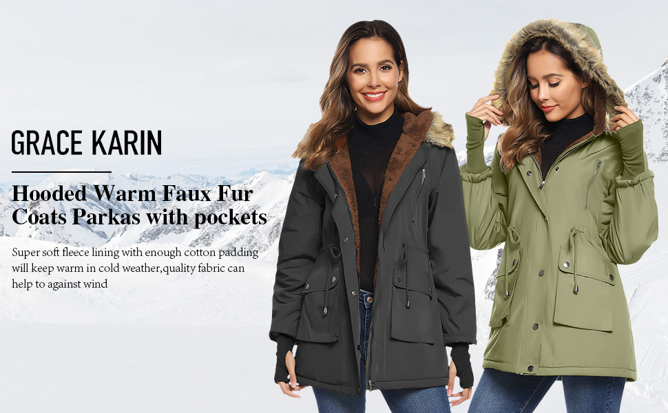 fleece coat parka for women