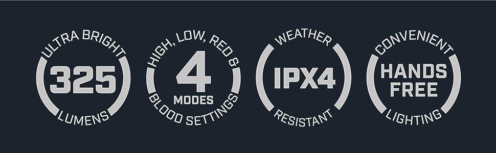 325 lumen bright headlamp multi mode blood tracking hunting light weatherproof tracking light