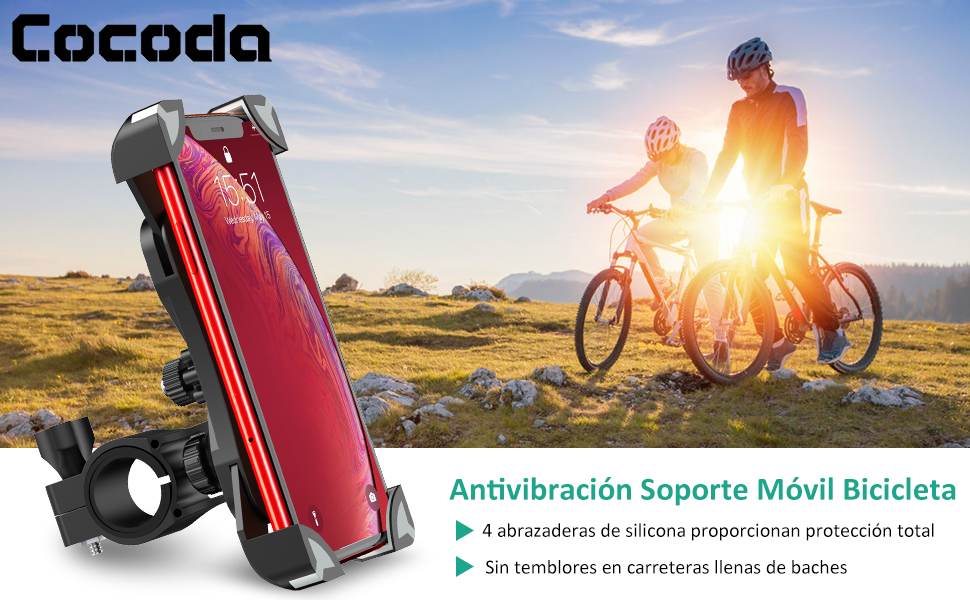 "Cocoda Soporte Movil, 360° Moto Bicicleta, Anti Vibración de 4.5-7.0"""