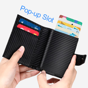 Porte Carte Cr/édit,Porte Carte Automatique Pop-up RFID Carte de Cr/édit Carbon Fiber Slim Wallet,Rangement Carte de Cr/édit et Pince /à Billets Magn/étique Rangement Carte pour Hommes et Femmes
