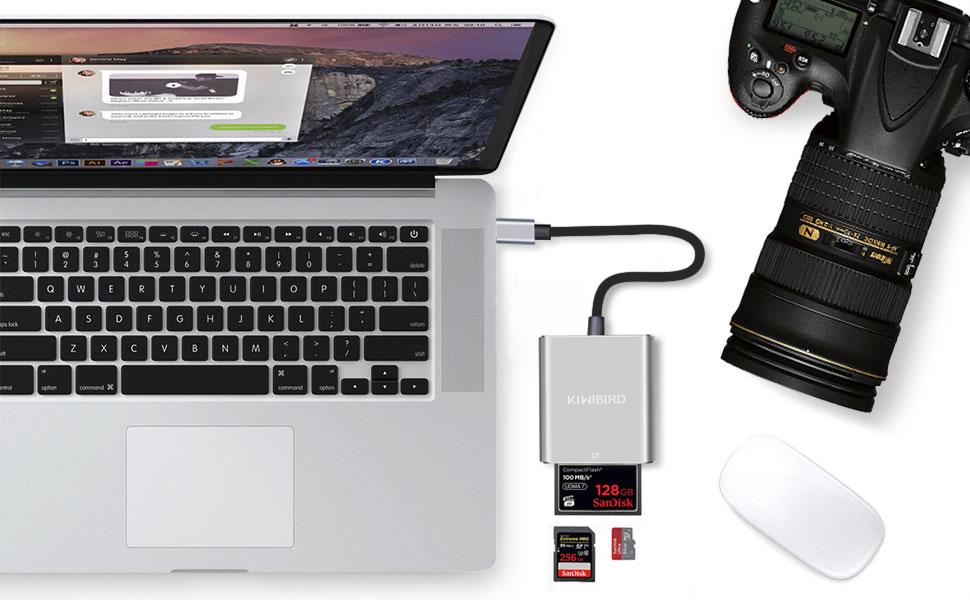 KiWiBiRD USB-C Lector de Tarjetas, Tipo C Adaptador SD/Micro SD/TF/CompactFlash CF Compatible con MacBook Air, MacBook Pro, iMac, iPad Pro, Galaxy ...