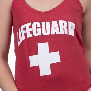 screen printed lifeguard women's red racerback tank top with print on front and back