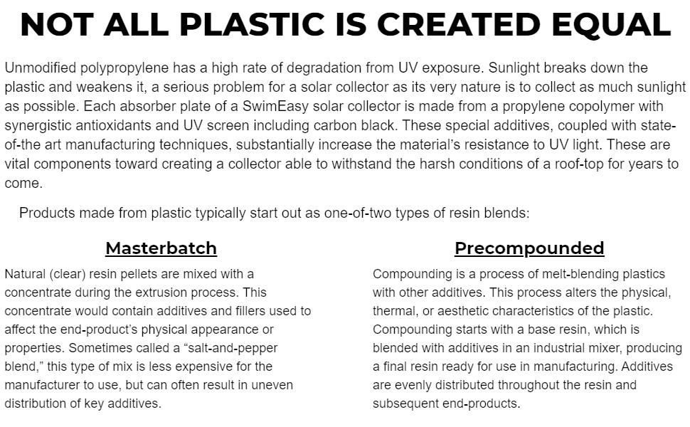 solar pool heaters plastic blends