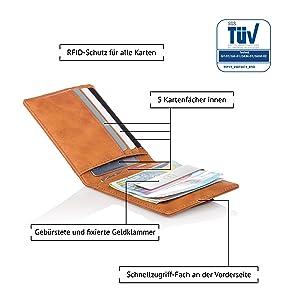 Herrengeldbörse RFID-Schutz für alle Karten 5 Kartenfächer innen Geldklammer Schnellzugriff