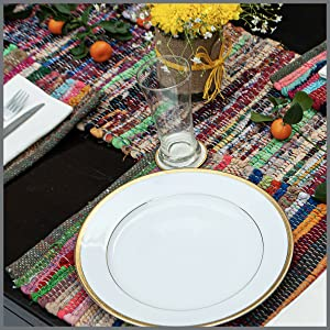 Rag rug placemat and table runner table setting , artisanal, chic, romantic, classic contemporary