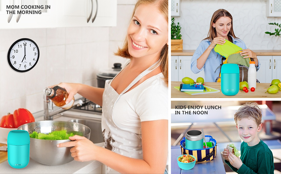 16oz Insulated Food Jar Hot Food Containers for Lunch Soup Thermos for Kids Vacuum Leak Proof Bento