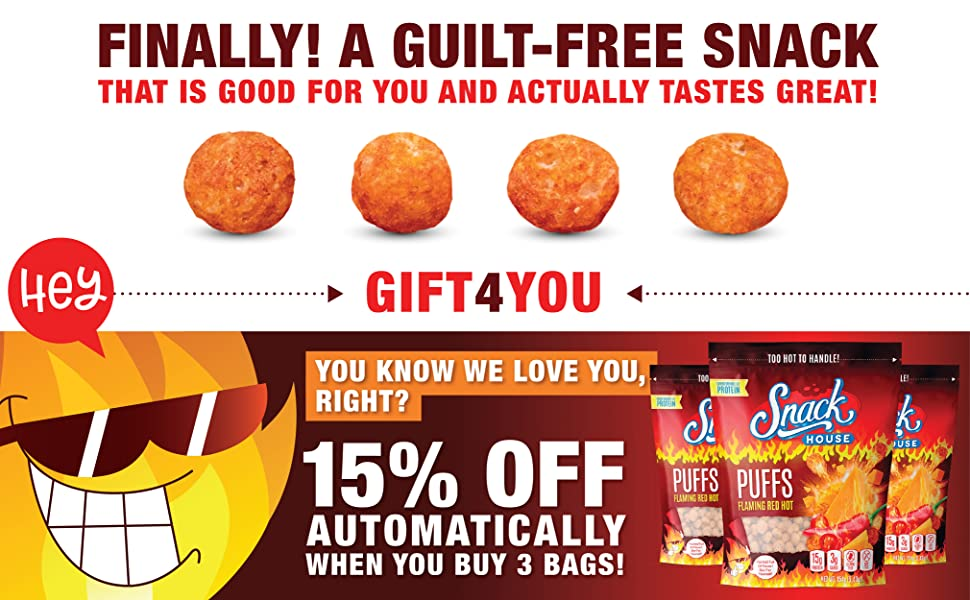 Snack House Puffs FlamingRedHot 7Servings ValueSize Protein Snack GuiltFree HighProtein LowCarbs