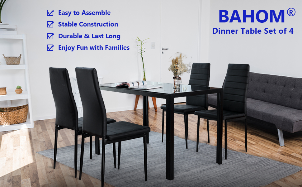 5Pcs Dining Set Kitchen Room Table Set Dining Table and 4 Leather Chairs OW