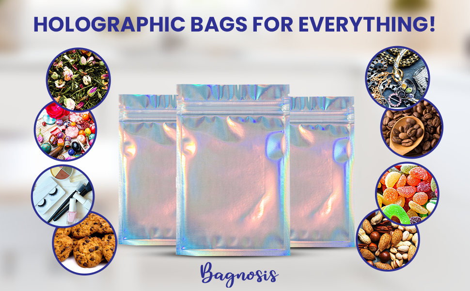 Empty Foil Holo Packing Bags with Ziploc