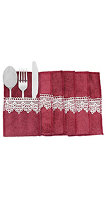 Cutlery Holder Pouch with Lace Tableware Bags